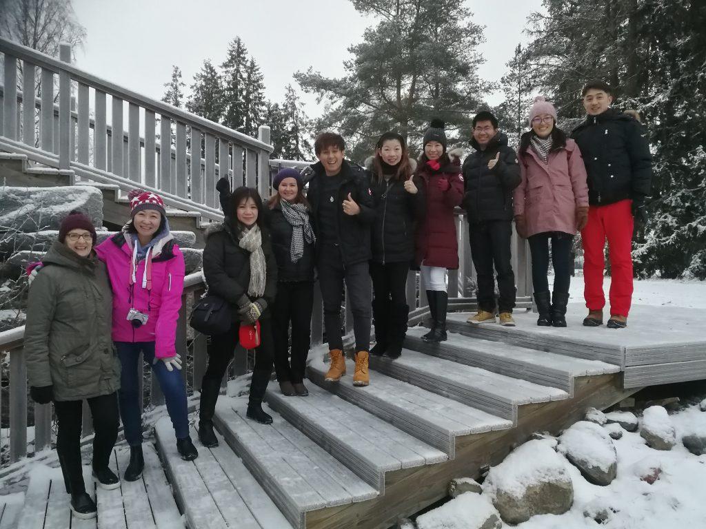 Chinese delegation group having a tour around Satakunta region organized by EduTravel.