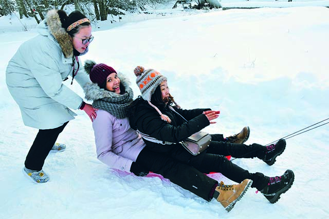 EduCamp offers sleighride and other winter activities like skeeing and ice-hockey